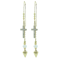 Stylish Beaded Charm & Crystal Cross Gold Colored Post Dangle Earrings