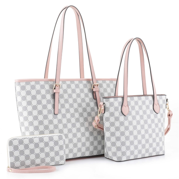 Stylish Timeless 3 Piece All-Over Pattern Pink & White Tote Satchel Set