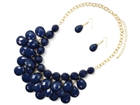 Gorgeous Navy Crystal Stone Dangle Gold Necklace Set