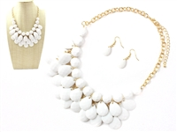 Gorgeous White Crystal Stone Dangle Gold Necklace Set