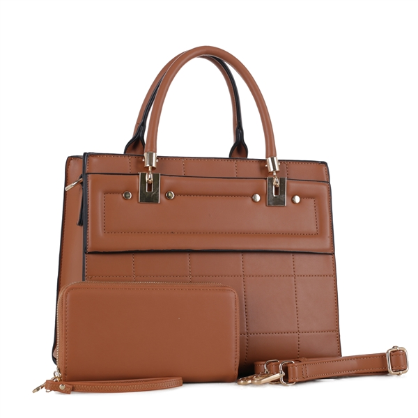 BROWN BRIEFCASE HANDBAG SET