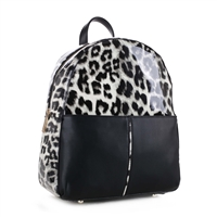 BLACK LEOPARD PRINT BACKPACK HANDBAG