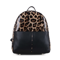 BROWN LEOPARD PRINT BACKPACK HANDBAG