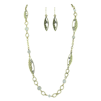 Chic & Stylish Crystal Beads, Unique Pattern Design with Crystals Gold Necklace Set