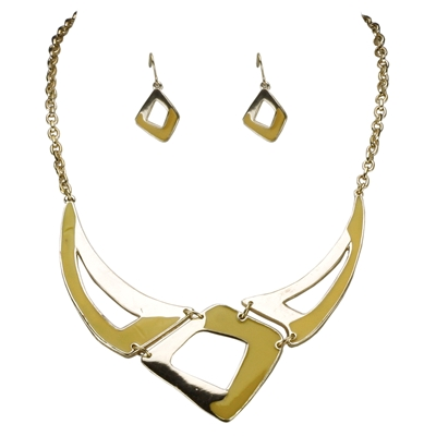 Abstract Yellow Necklace Set