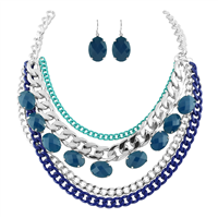 BLUE CHAINED CRYSTAL STONE NECKLACE SET