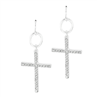 Classy Faith Sparkling Clear Crystal Cross Silver Toned Post Dangle Earrings