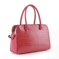 Classy Red Faux Leather & Red Faux Alligator Skin Dapper Satchel Handbag