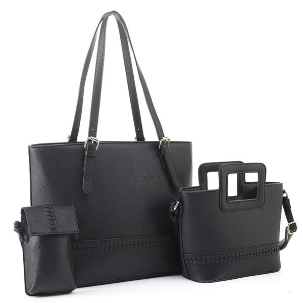 Modern Contemporary 3 Piece Midnight Black Faux Leather Satchel Set