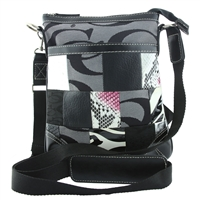 Textured Patterned Collage Black Printed CC Pattern on Gray Crossbody Shoulder Bag