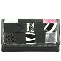 Textured Patterned Collage Front Black CC Printed Wallet