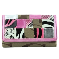 Textured Patterned Collage Front Khaki & Pink CC Printed Wallet