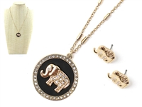 Classy & Stylish Black Round Crystal Elephant Charm Gold Necklace Set
