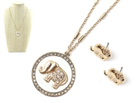 Classy & Stylish White Round Crystal Elephant Charm Gold Necklace Set