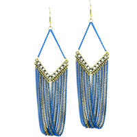 Stylish & Chic Sparkling Clear Crystals Blue & Gold Chain Linked Gold Toned Post Dangle Earrings