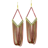 Stylish & Chic Sparkling Clear Crystals Red & Gold Chain Linked Gold Toned Post Dangle Earrings