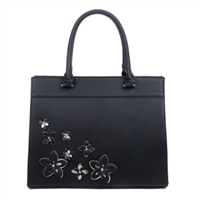 Black Flower Accented Sturdy Satchel
