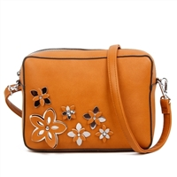 Flower Accented Sturdy Light Brown Crossbody
