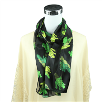 Hopping Green Leap Frog Print Black Silk Scarf