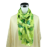 Hopping Green Leap Frog Print Light Green Silk Scarf