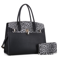 Wild Two-Tone Black Faux Leather & Light Gray Leopard Textured Top Full Wristlet Satchel Handbag Set