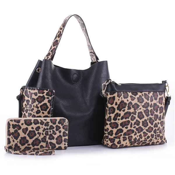 Wild Two-Tone Black Faux Leather & Light Brown Leopard Print Patch Wristlet Satchel Handbag Set