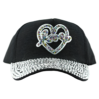LOVE HEART HAT | BLACK
