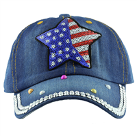 Denim American Flag Star Hat