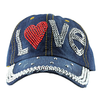 RED HEART HAT | DISTRESSED DENIM