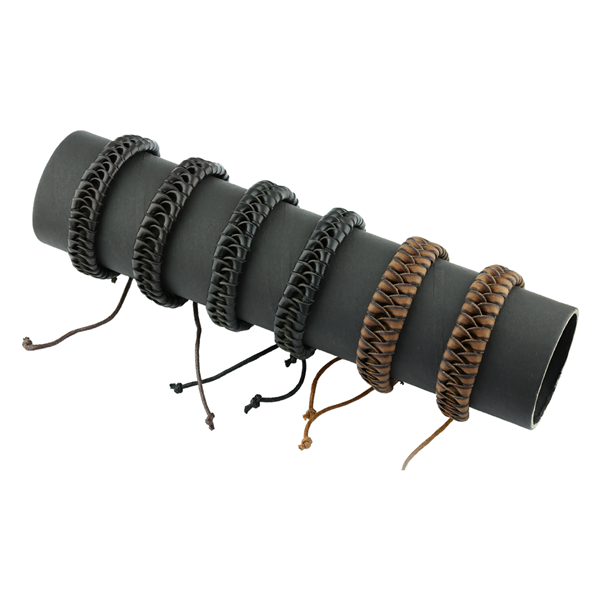 Earth Tone Dozen Faux Leather Bracelets