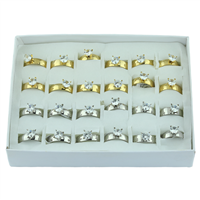 Smoothed Silver and Gold Round Crystal Rings