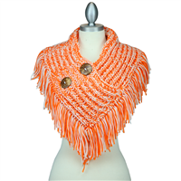 THE CROCHET NECK SCARF | ORANGE/WHITE