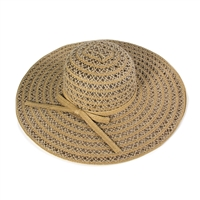 Coffee Colored Woven Floppy Hat with Ivory Colored Ribbon