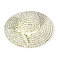 Ivory Colored Woven Floppy Hat with Ivory Colored Ribbon