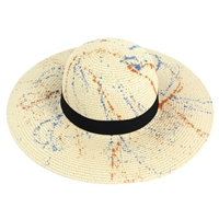 Blue and Orange Splattered Beige Floppy Hat with Black Band