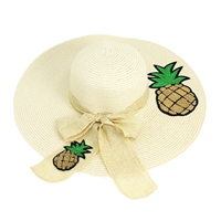 2 Pineapples Ivory Floppy Hat with Ivory Ribbon