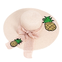 2 Pineapples Pink Floppy Hat with Pink Ribbon