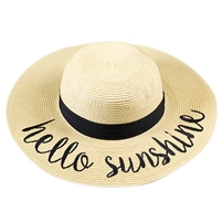 "Beige ""Hello Sunshine"" Floppy Beach Hat with Black Band"
