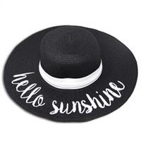 "Black ""Hello Sunshine"" Script Floppy Hat with White Band"