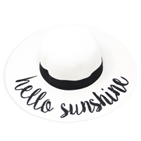 "White ""Hello Sunshine"" Floppy Beach Hat with Black Band"