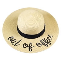 "Beige ""Out Of Office"" Floppy Beach Hat with Black Band"
