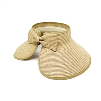Bow Beige Floppy Visor Hat with Beige Trim
