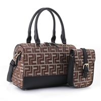 Stylish Black Faux Leather Two-Tone Light Brown Polyester Repetitive Pattern Design Vacationer Duffle Satchel Handbag Set