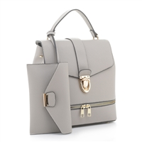 Classy Impeccable Light Gray Faux Leather Backpack Satchel Set