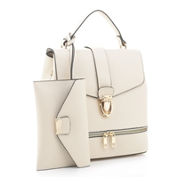 Classy Impeccable Off-White Faux Leather Backpack Satchel Set