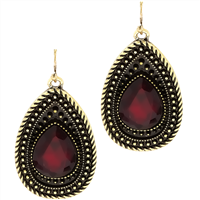 Exquisite Fashionable Sparkling Ruby Red Crystal Stone Black Teardrop Gold Toned Post Dangle Earrings