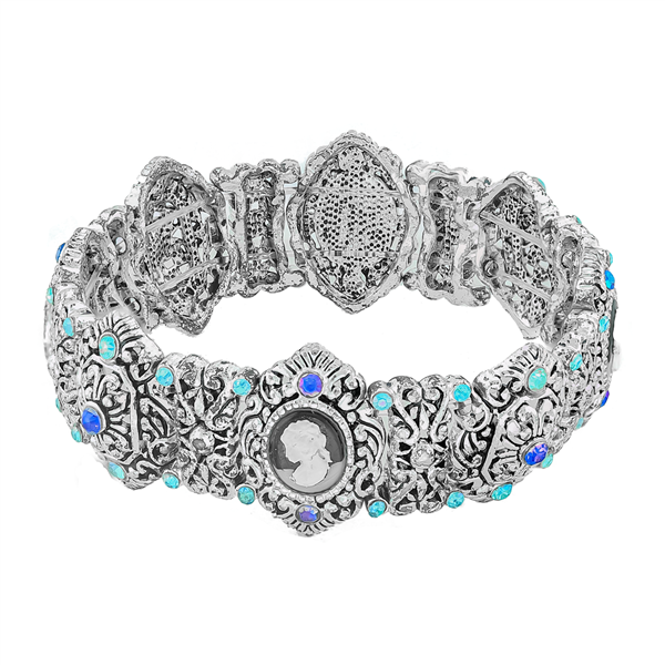 Crystal Ornate Silver Stretch Bracelet
