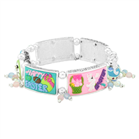 Playful & Colorful Happy Easter Rubber Charms Colorful Beads Silver Stretch Bracelet