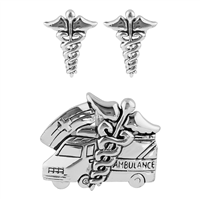 Trendy Nurses Caduceus Ambulance All Silver Pendant Set