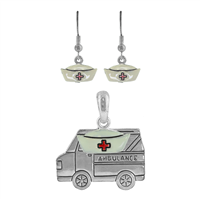 Trendy White, Red & Silver Nurses Hat Ambulance Pendant Set